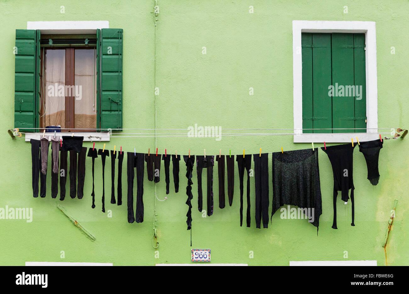 Colorful facades, Burano, Venetian Lagoon, Italy Stock Photo