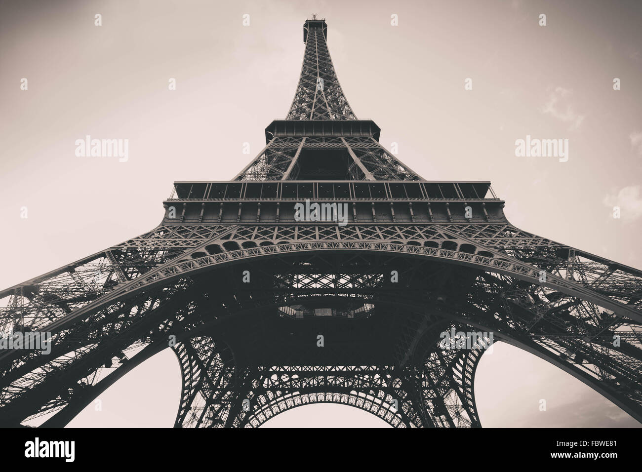 Vintage filter effect Eiffel Tower in Paris - Stock Image
