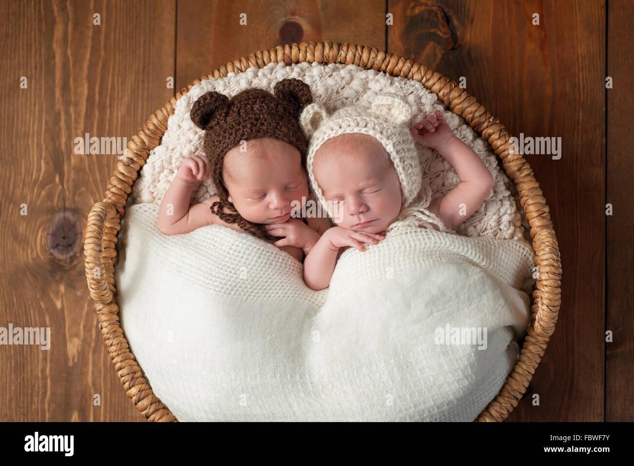 Twin Baby Boys Wearing Bear Bonnets Stock Photo  93373839 - Alamy f4a58508d3f