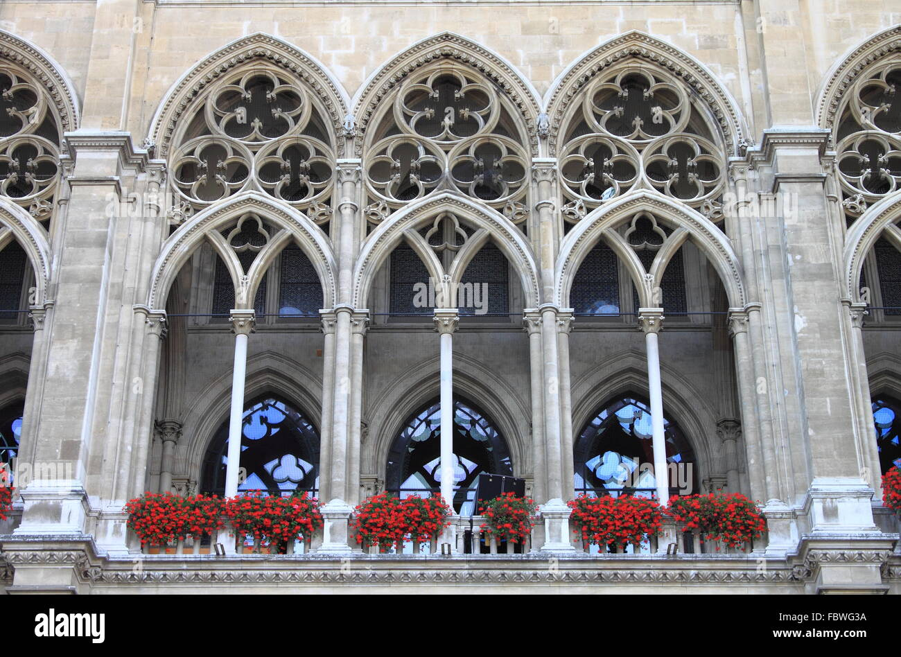 Arches of Vienna City Hall building, Austria - Stock Image