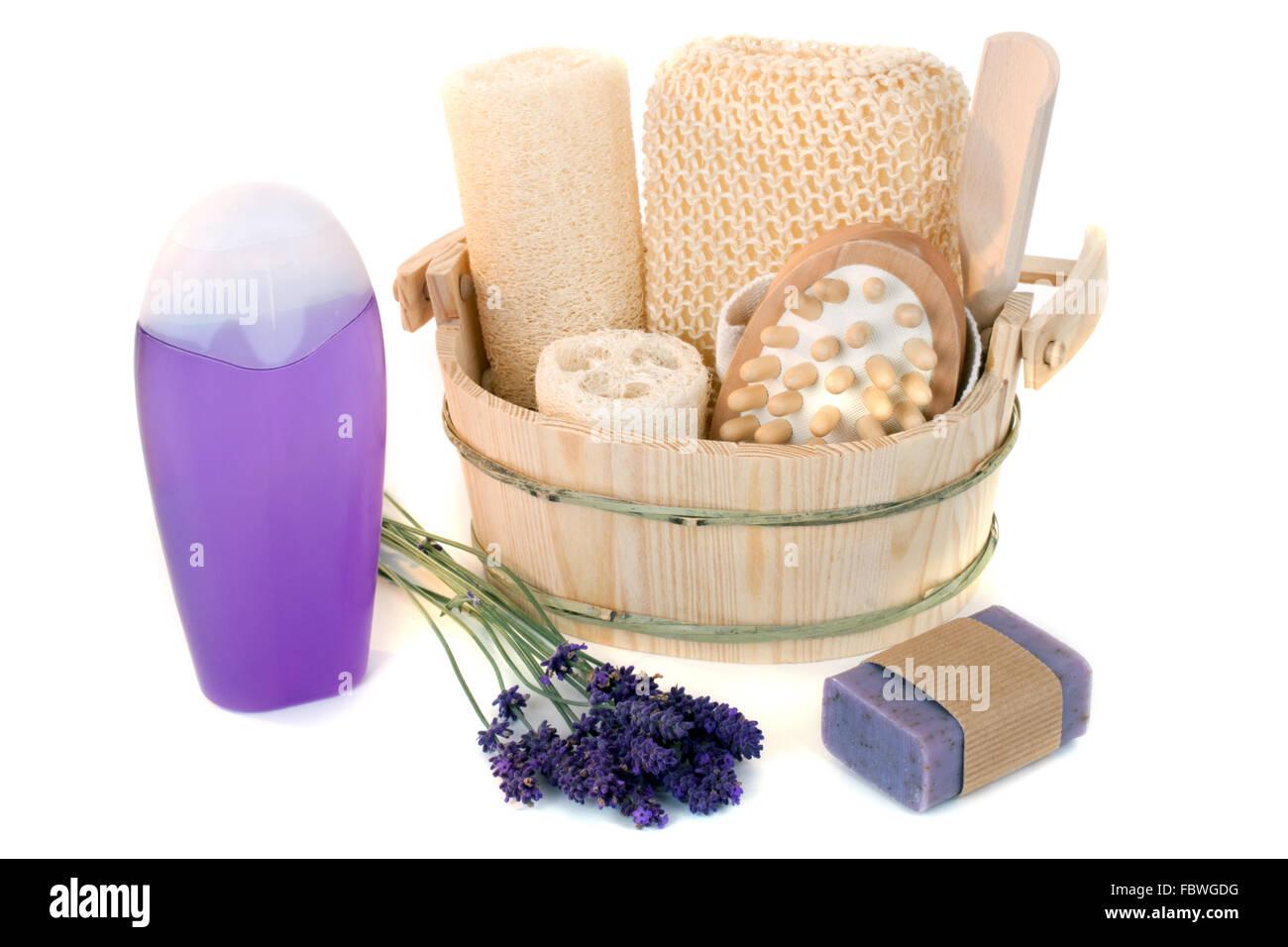 Lavender shower gel - Stock Image