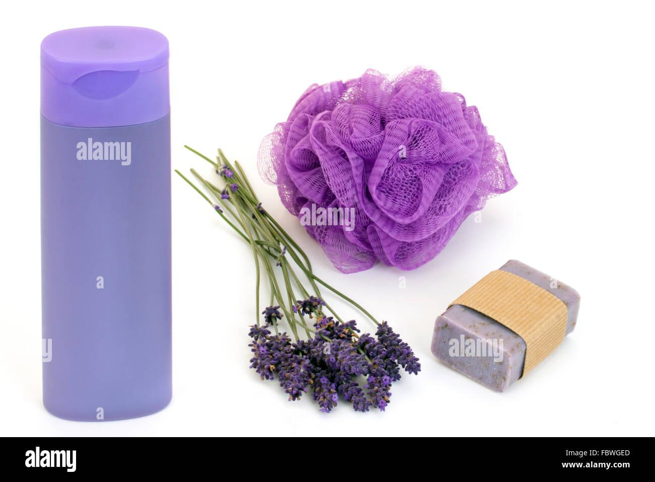 Shower gel with sponge - Stock Image