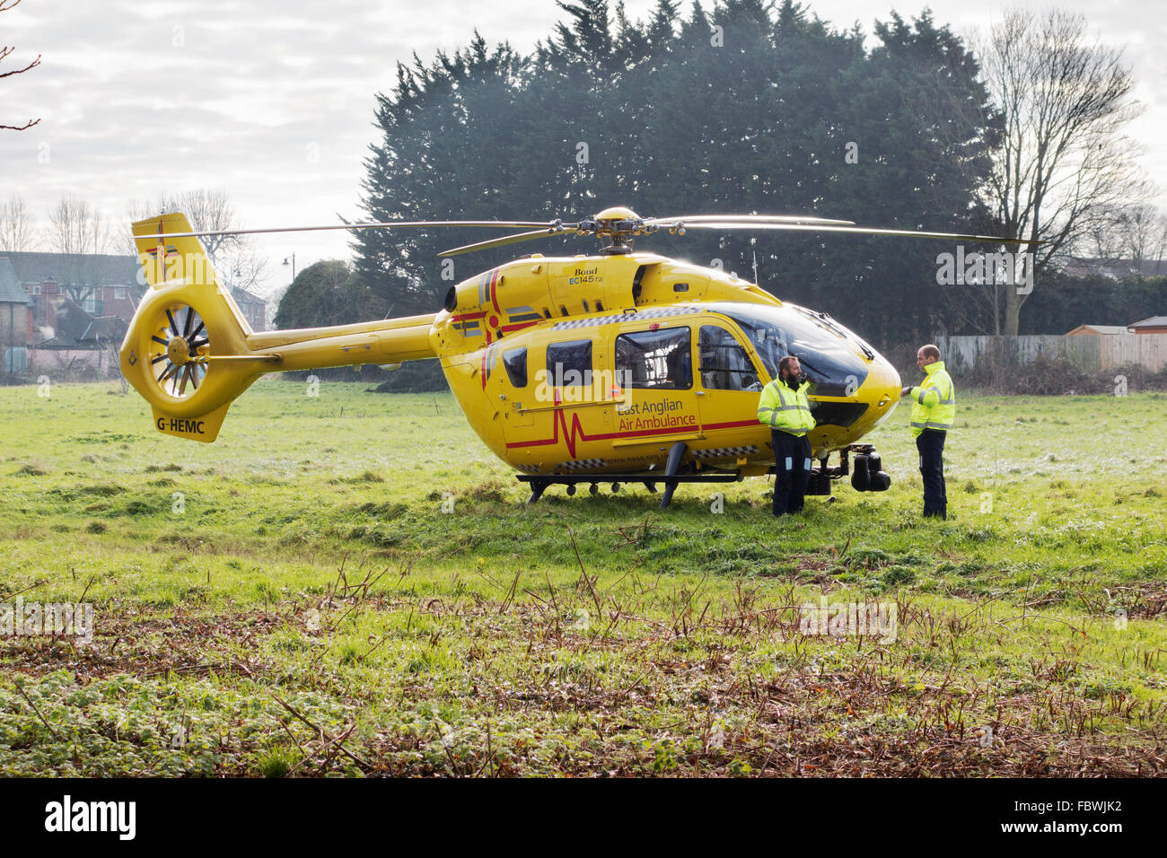 Prince William, (Standing right) pilots the East Anglian Air Ambulance to a field in Newmarket to collect a casualty, - Stock Image