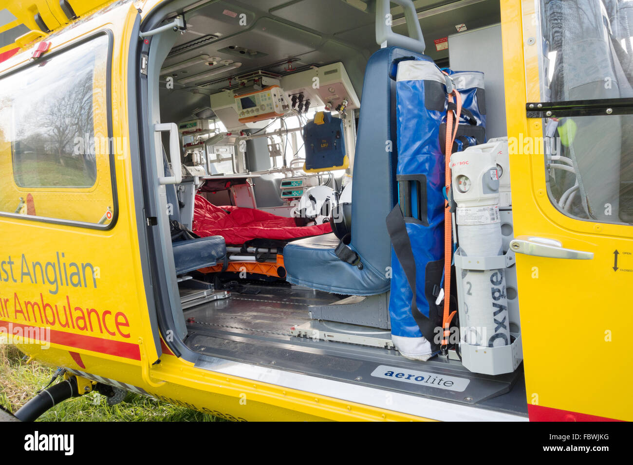 The interior equipment of the East Anglian Air Ambulance helicopter, Suffolk UK - Stock Image