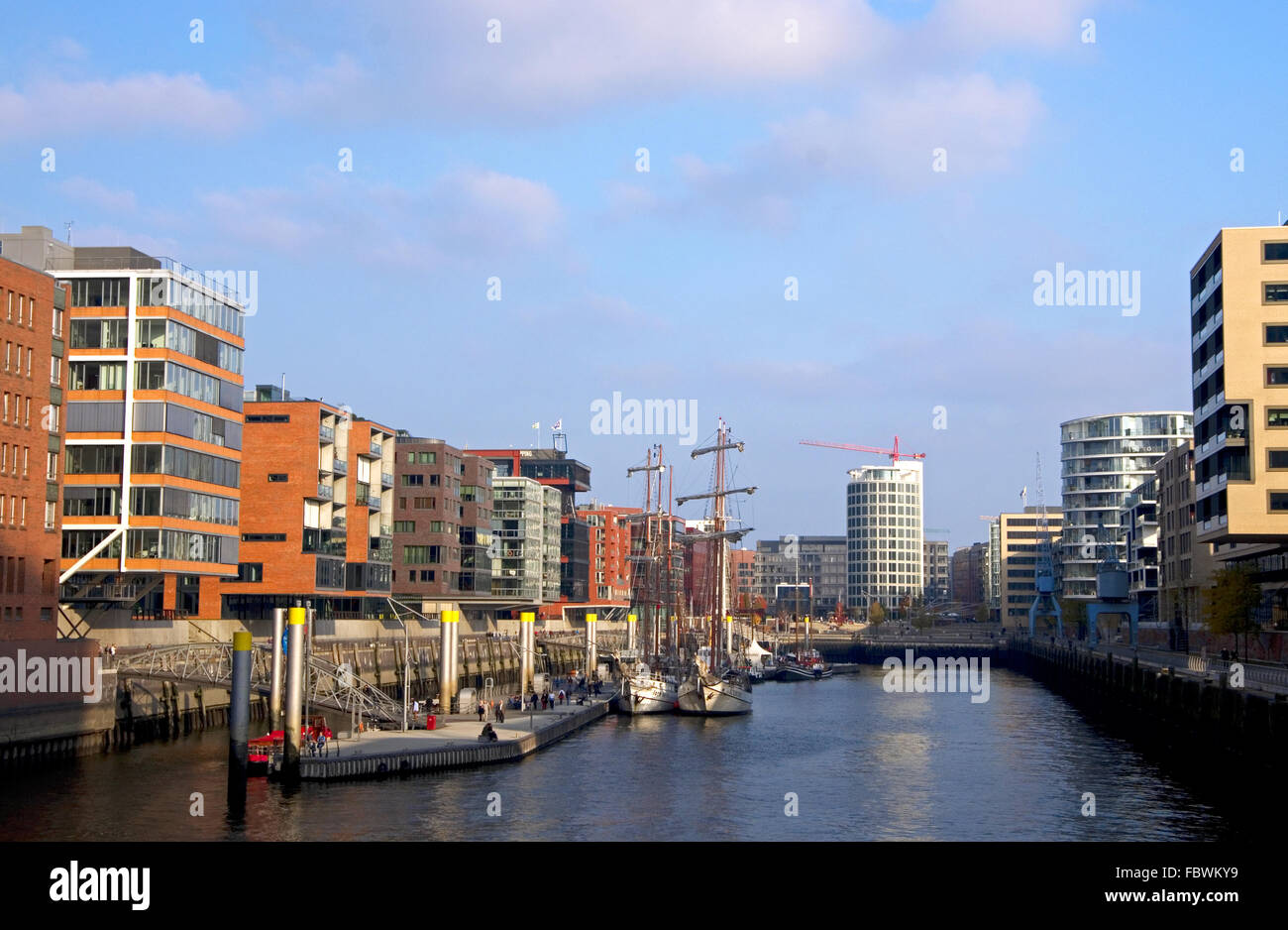ships and boats in hamburg hafen city - Stock Image