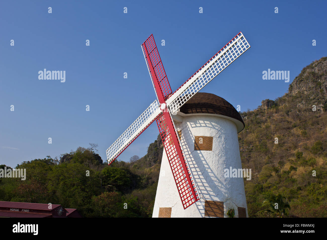 swiss sheep farm windmill2 Stock Photo