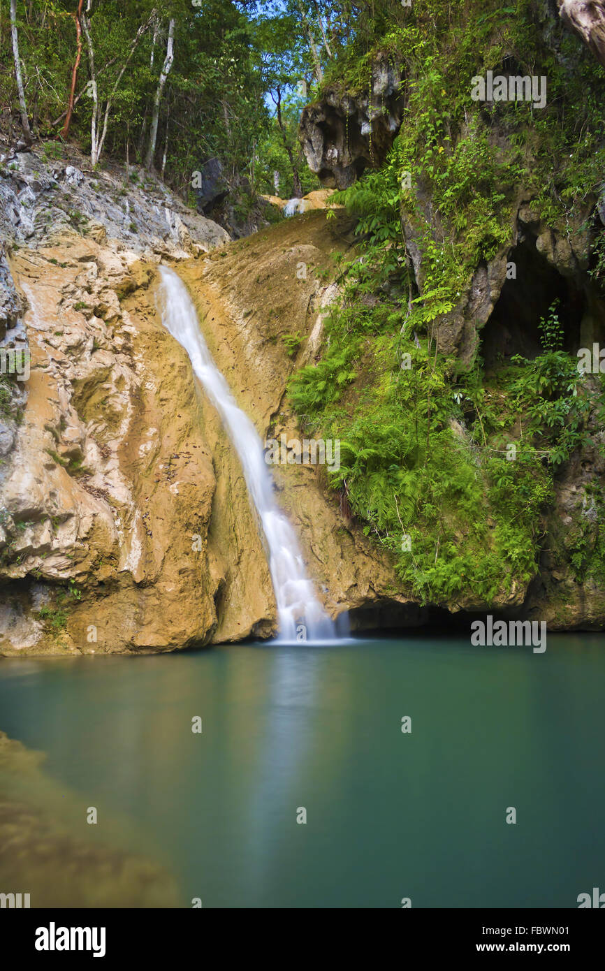 Waterfall in the hinterland of Trinidad - Stock Image