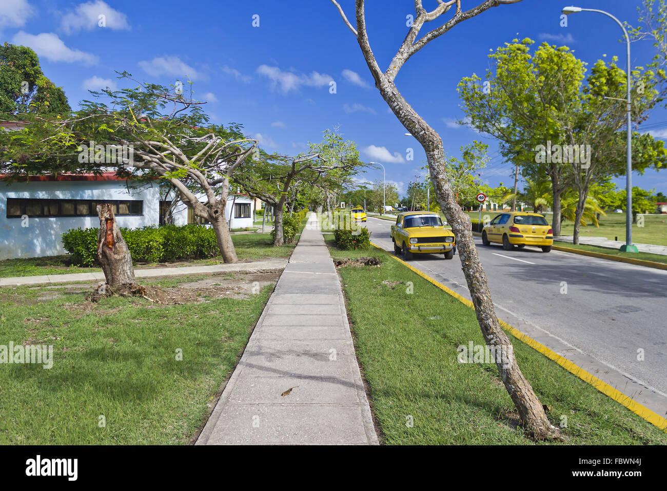 Street in Guardalavaca, Cuba - Stock Image