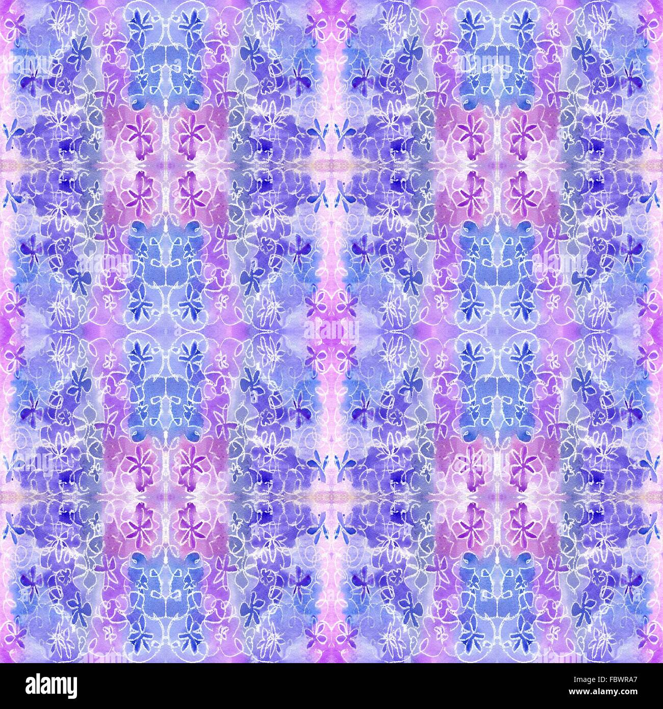 watercolor lilac pattern repetition - Stock Image
