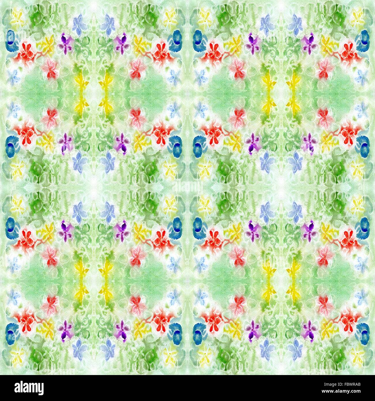 watercolor green pattern repetition - Stock Image