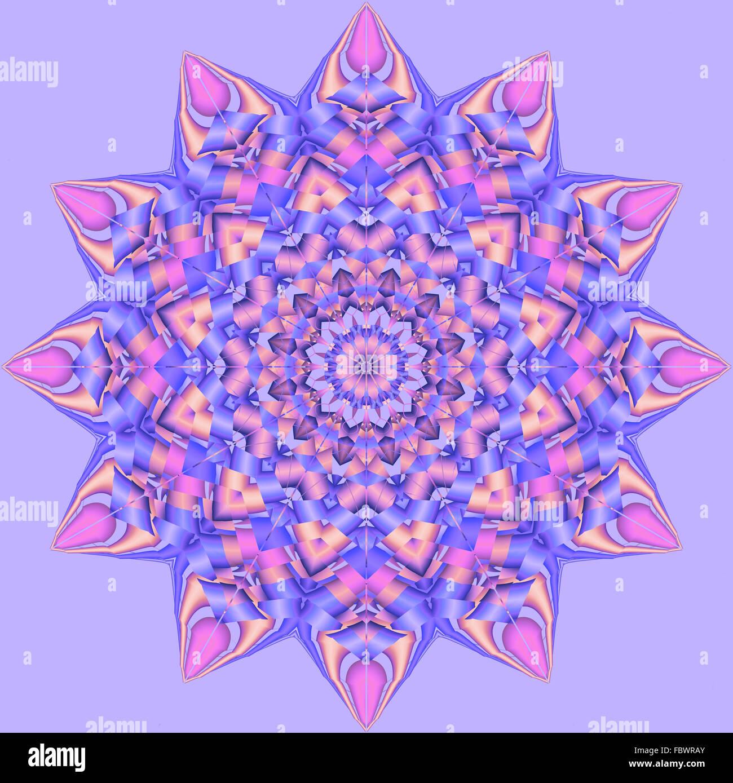 Psychedelic Kaleidoscope Spirograph Motifs - Stock Image
