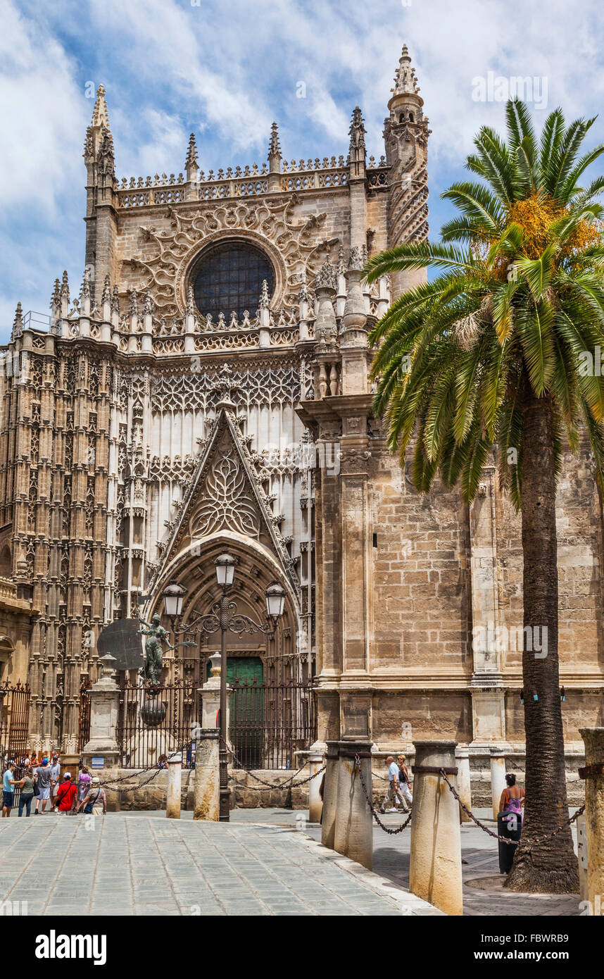 Spain, Andalusia, Province of Seville, Seville, Main entrance of Seville cathedral - Stock Image