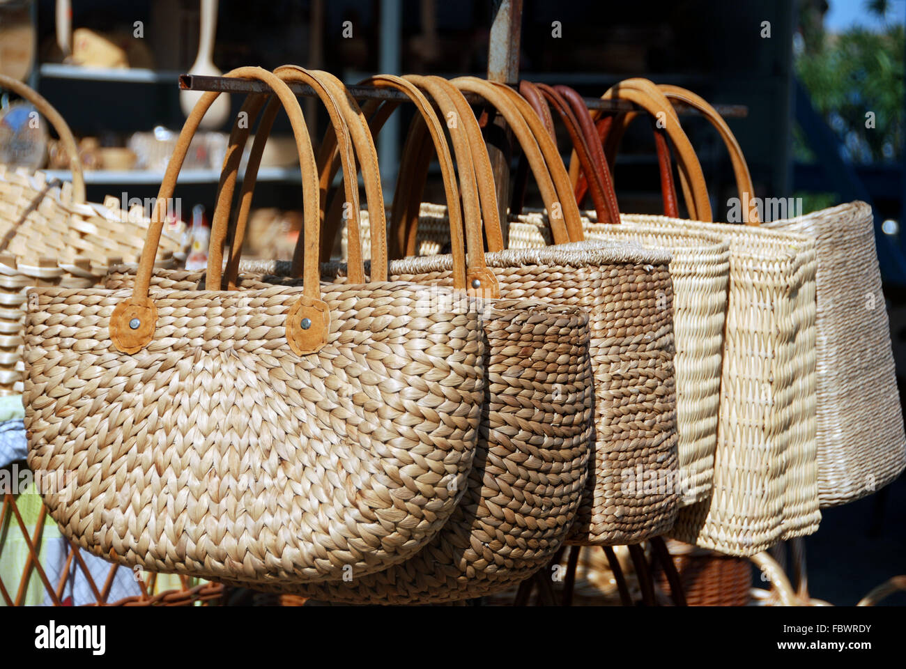 Two handled wicker bags - Stock Image