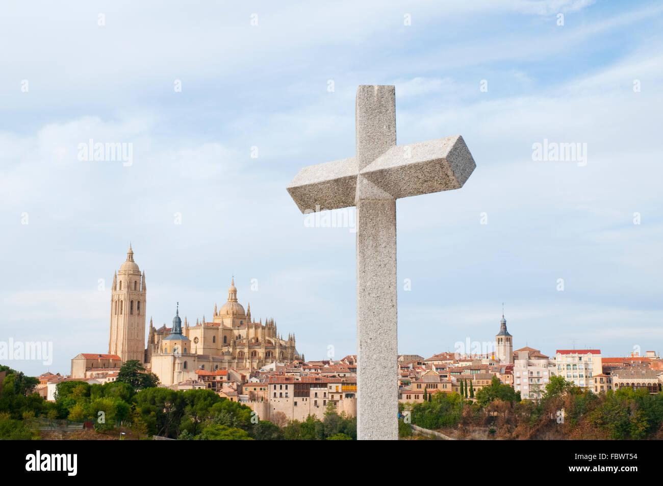 Overview from La Piedad. Segovia, Castilla Leon, Spain. - Stock Image