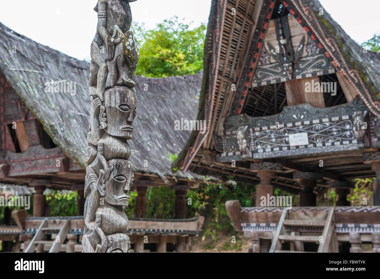 Traditional batak houses, Lake Toba, Sumatra, Indonesia - Stock Image
