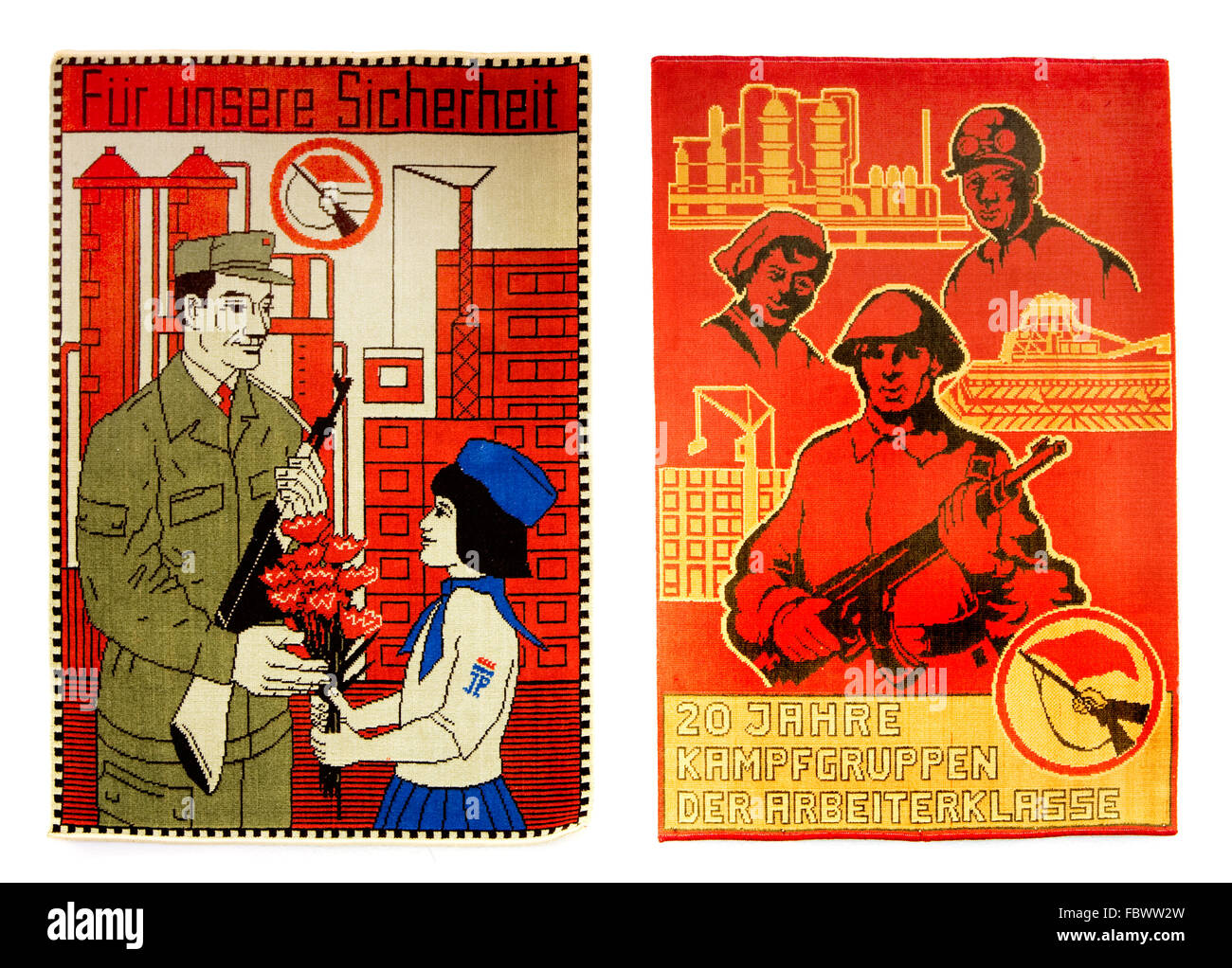 tapestry with gdr army motives - Stock Image