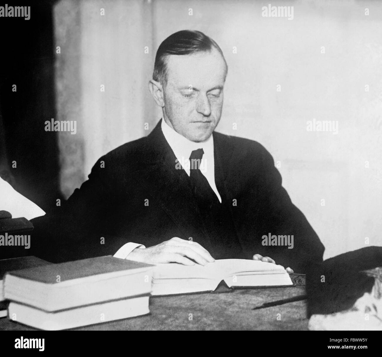 Calvin Coolidge, portrait of the 30th President of the USA - Stock Image