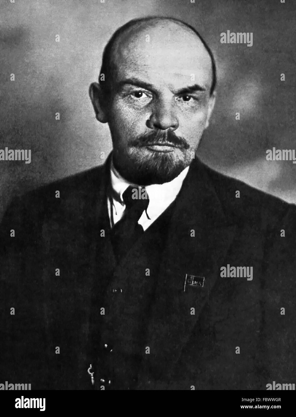 Lenin. Portrait of Vladimir Lenin (Vladimir Ilyich Ulyanov), Chairman of the Council of People's Commissars - Stock Image