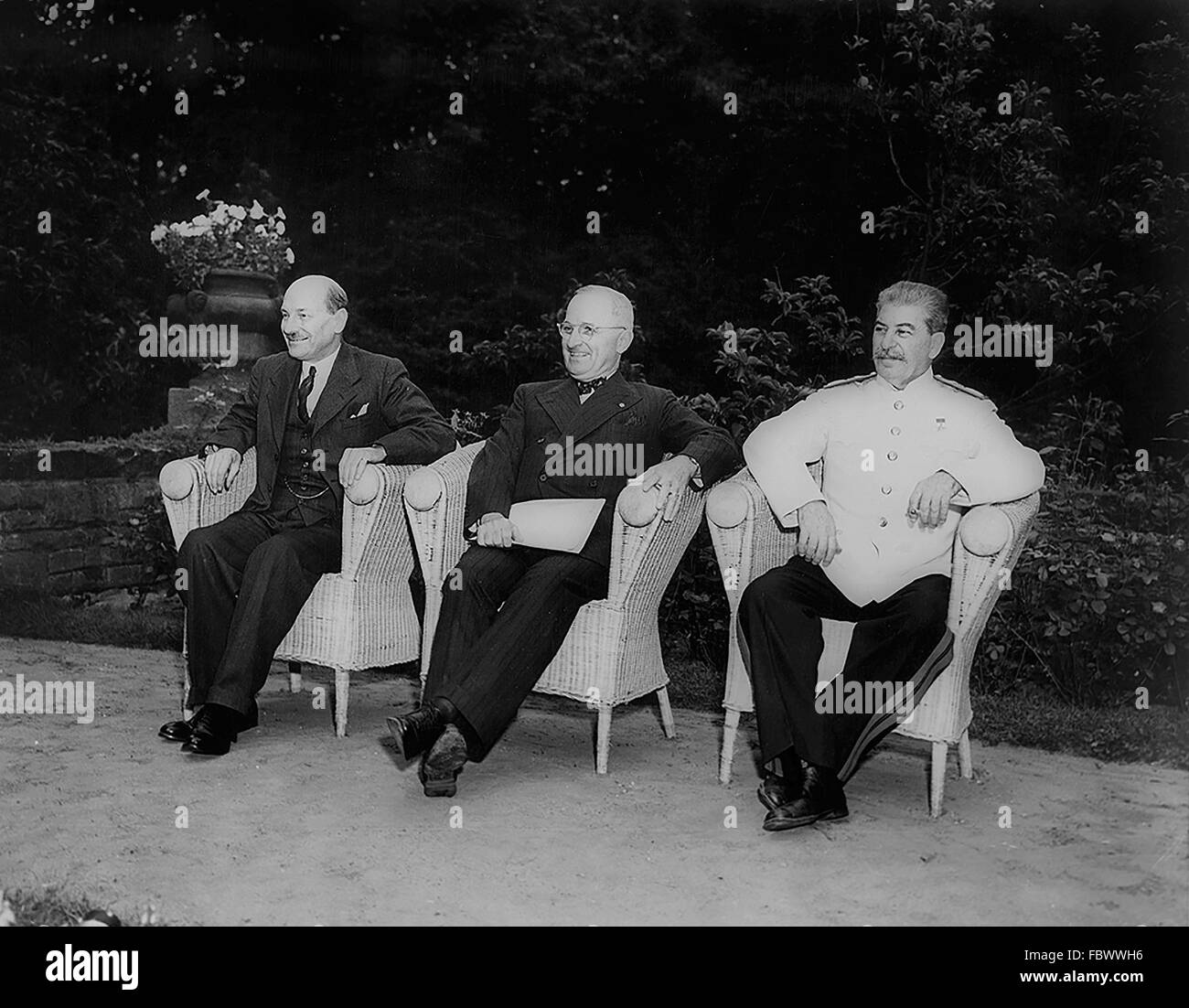 British Prime Minister Clement Attlee, US President Harry S Truman, and Soviet Premier Joseph Stalin at the Potsdam - Stock Image