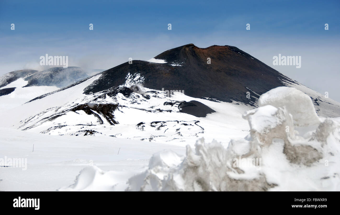 snowcovered Maincrater of the Mount Etna - Stock Image