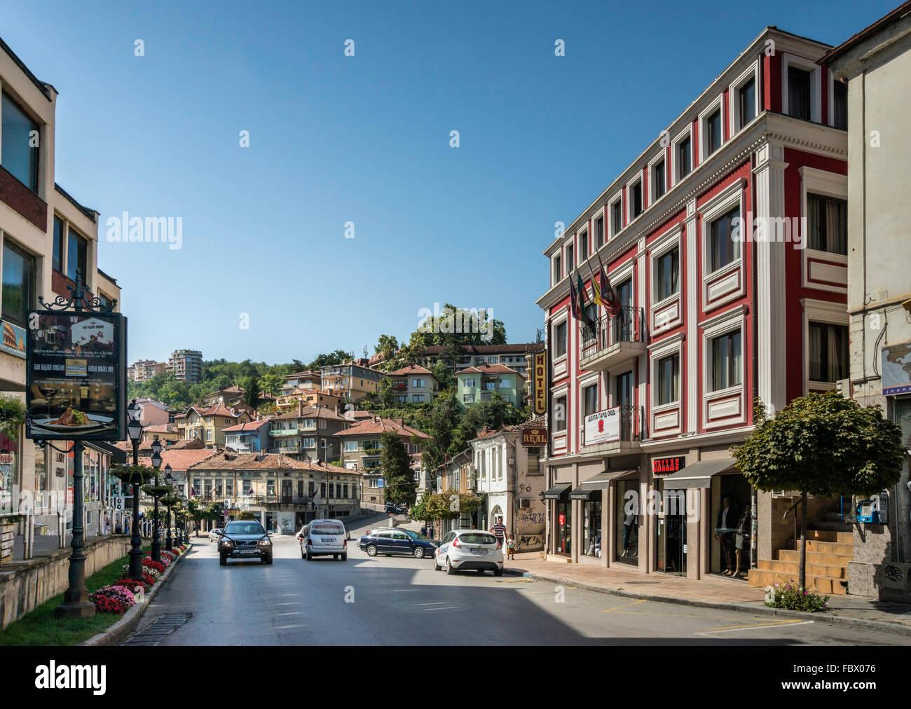 Stefan Stambolov Street, Hotel Real on left, in Veliko Tarnovo, Bulgaria Stock Photo