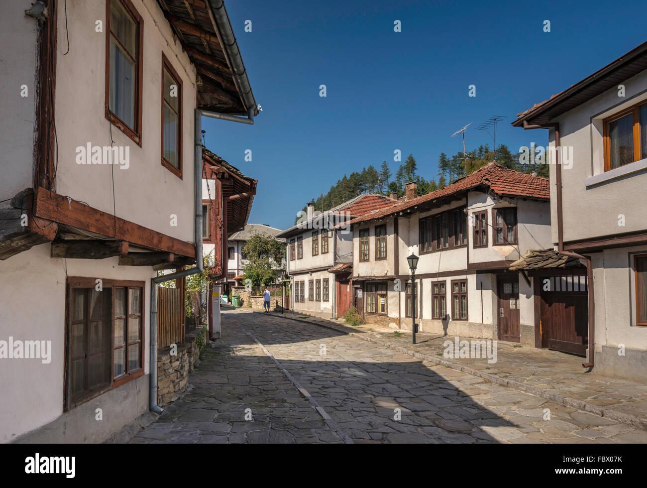 Historic buildings, Bulgarian National Revival style, Petko Slaveykov Street in Tryavna, Bulgaria - Stock Image