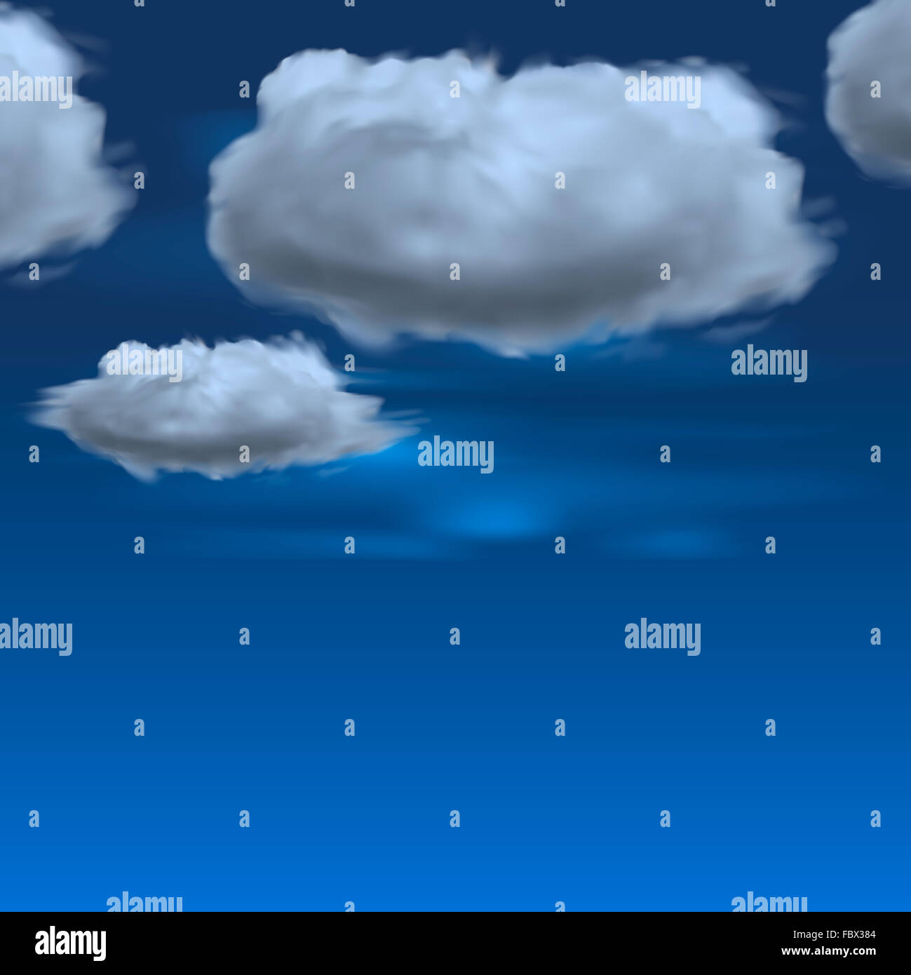Blue sky with clouds, vector background - Stock Image