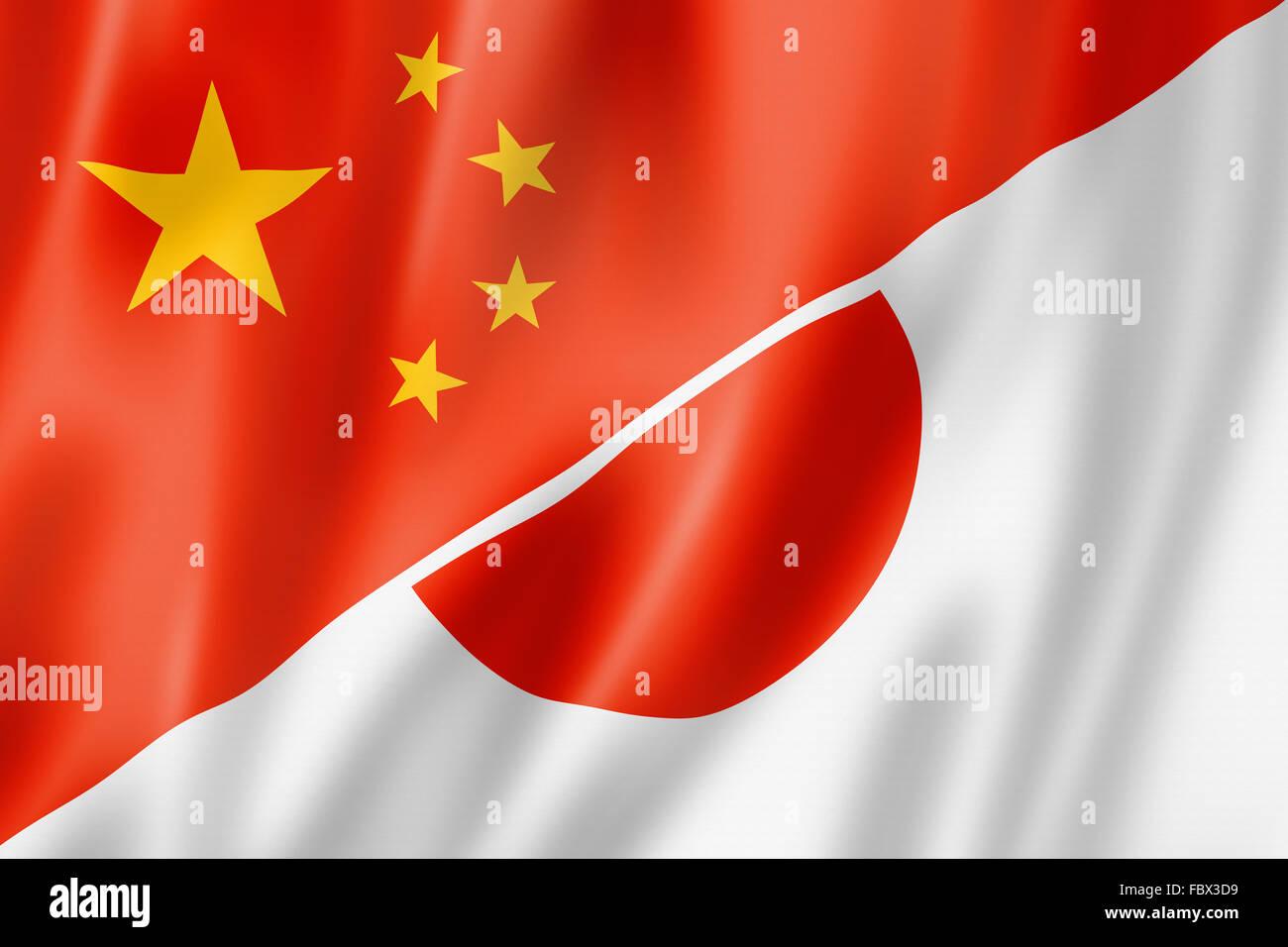 China and Japan flag Stock Photo
