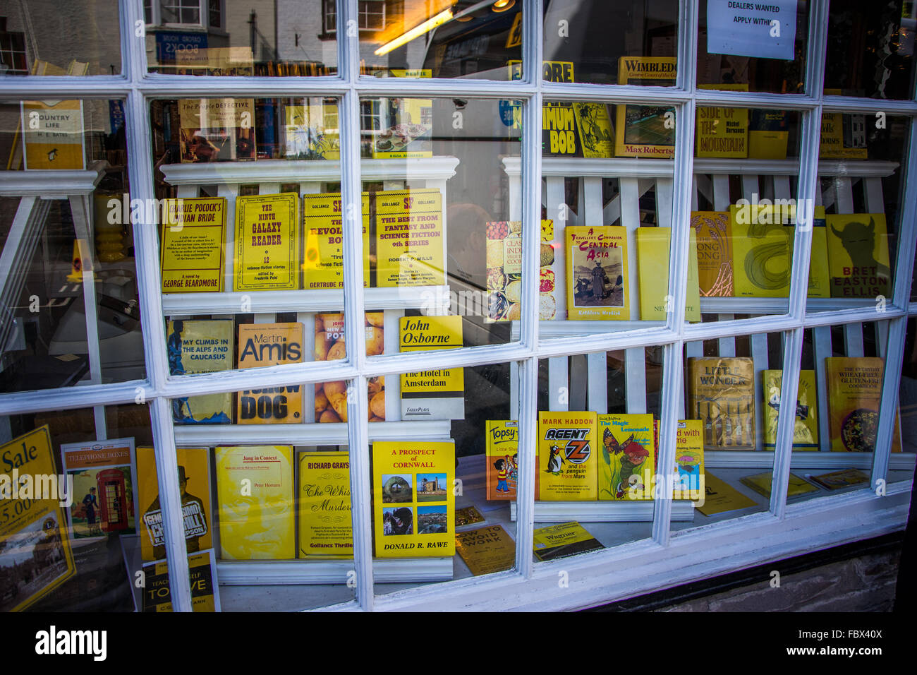 Bookshop window dressing in Hay-on-Wye, Wales Stock Photo