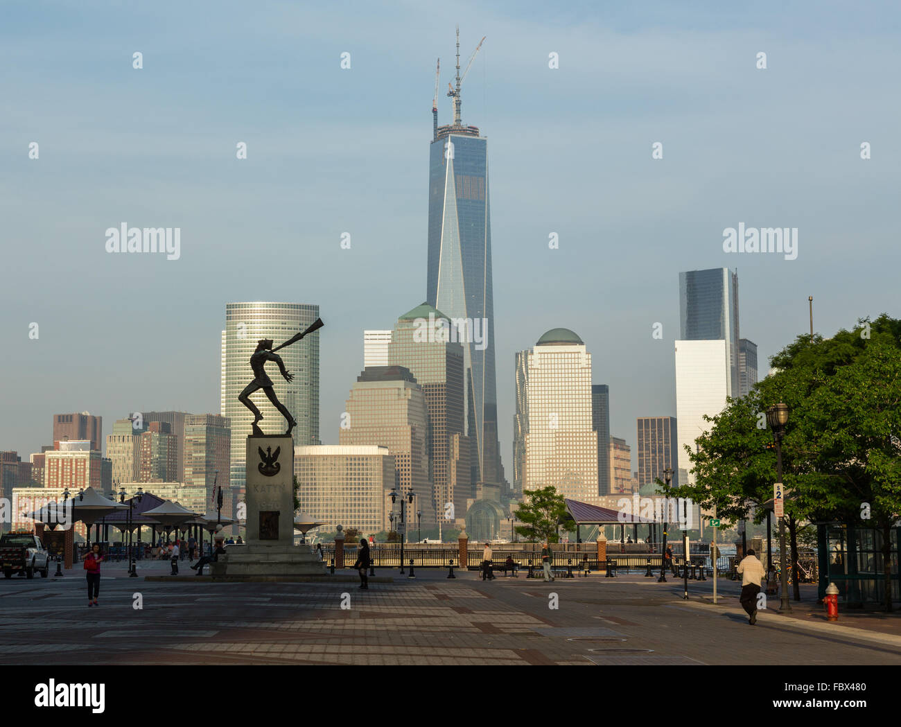 Katyn Memorial frames World Trade Center in Jersey City Stock Photo ...