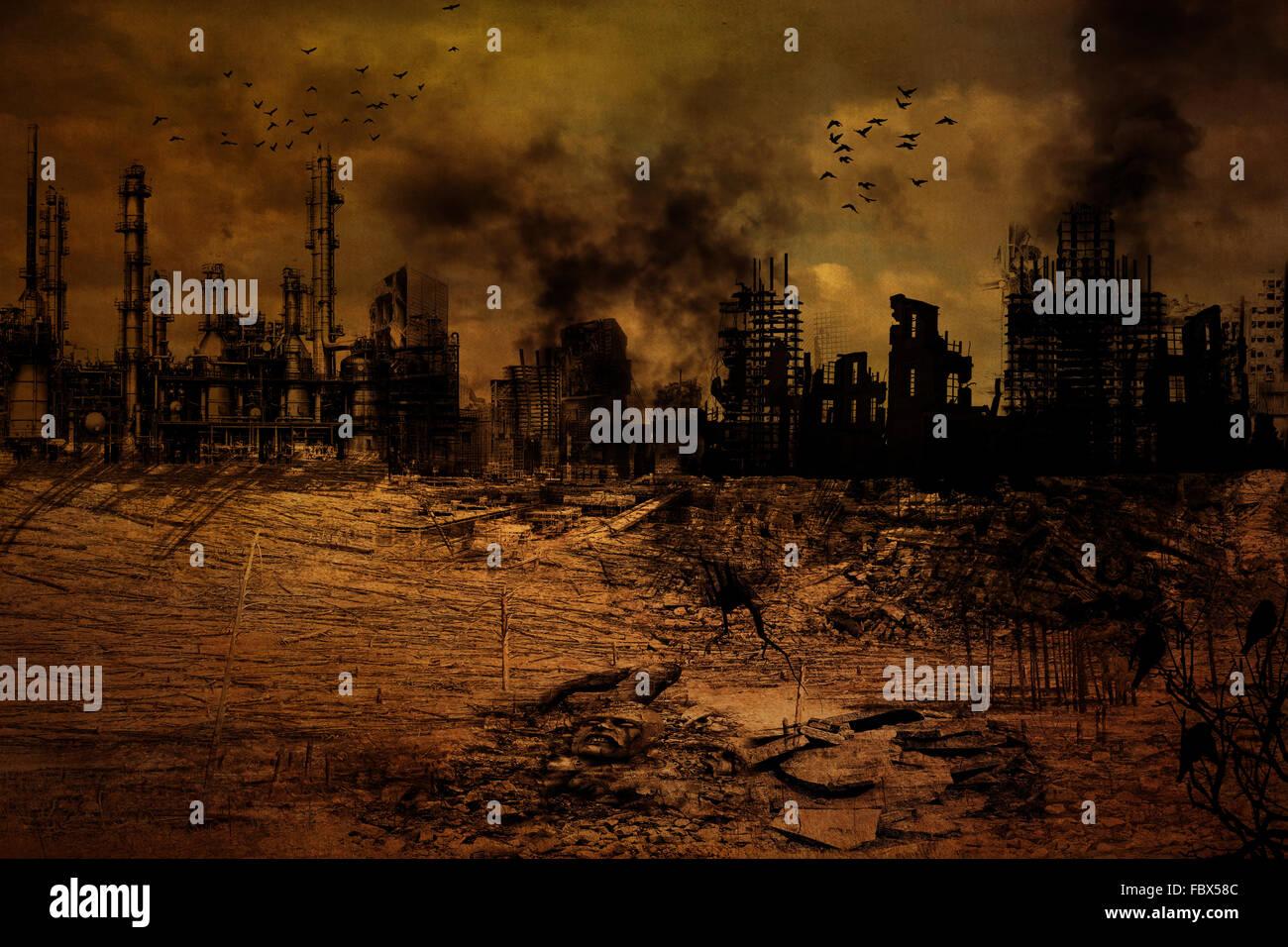Background - Destroyed City - Stock Image