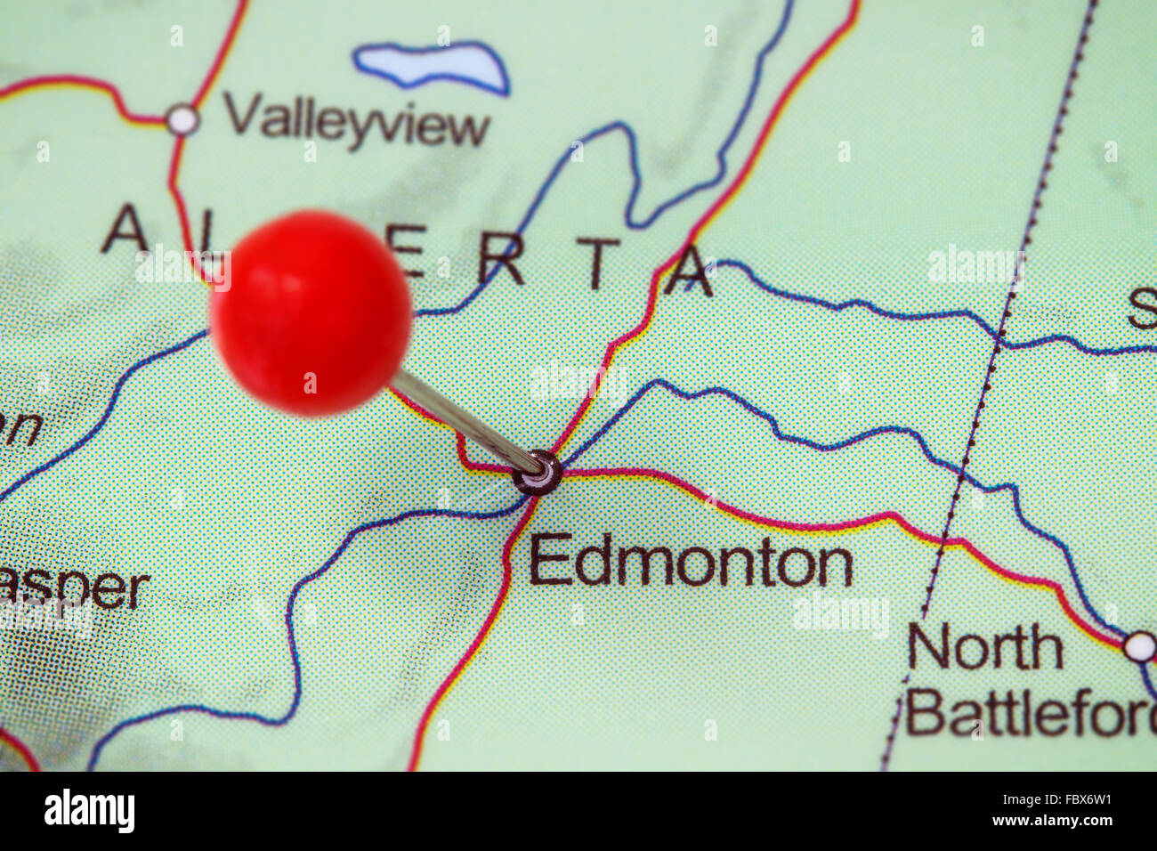 Edmonton Map Of Canada.Close Up Of A Red Pushpin In A Map Of Edmonton Canada Stock Photo