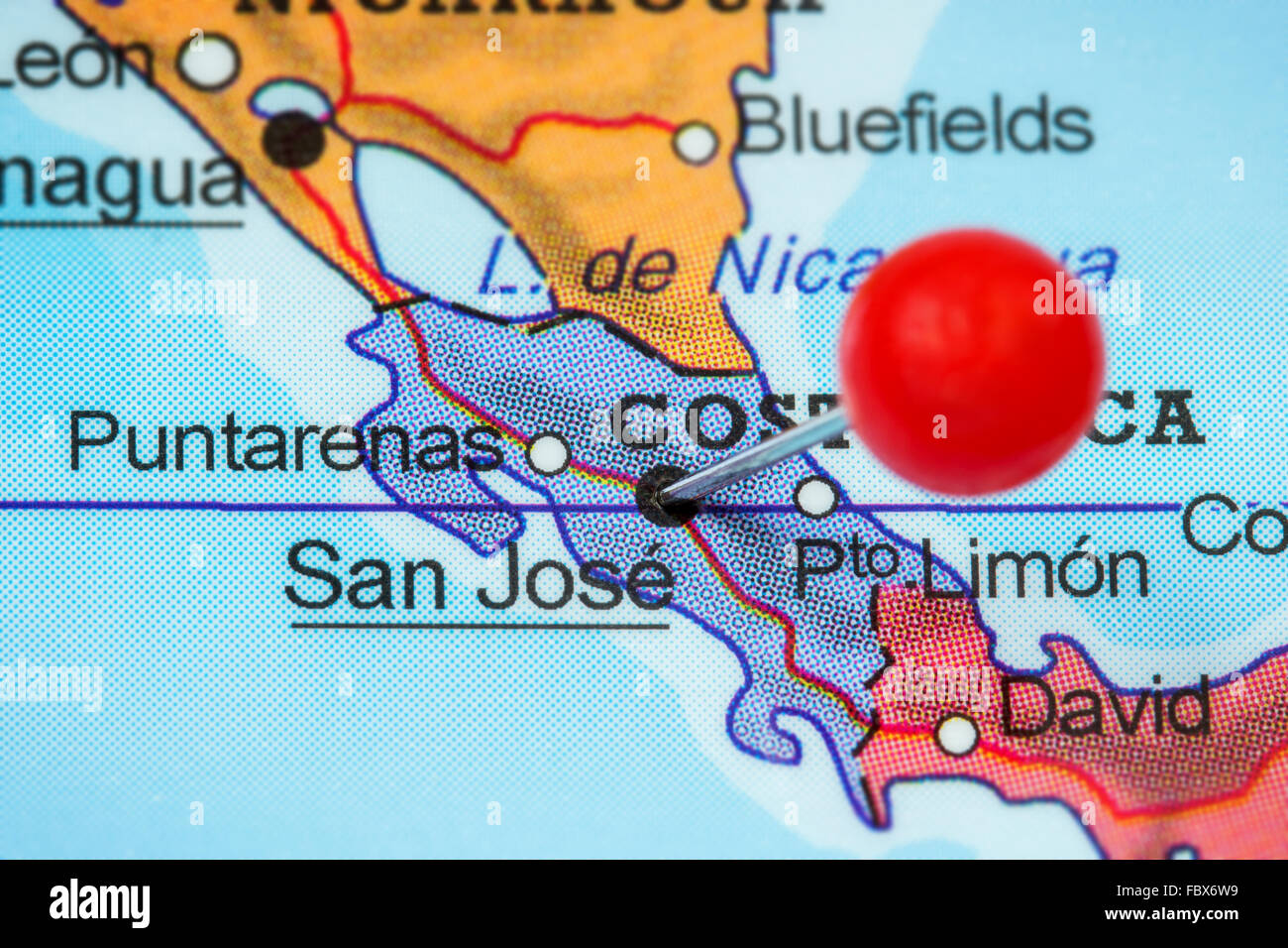 Close-up of a red pushpin in a map of San Jose, Costa Rica Stock ...