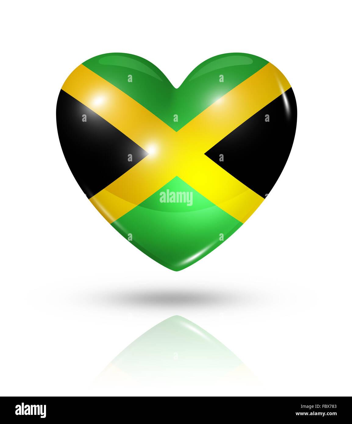 Love jamaica heart flag icon stock image