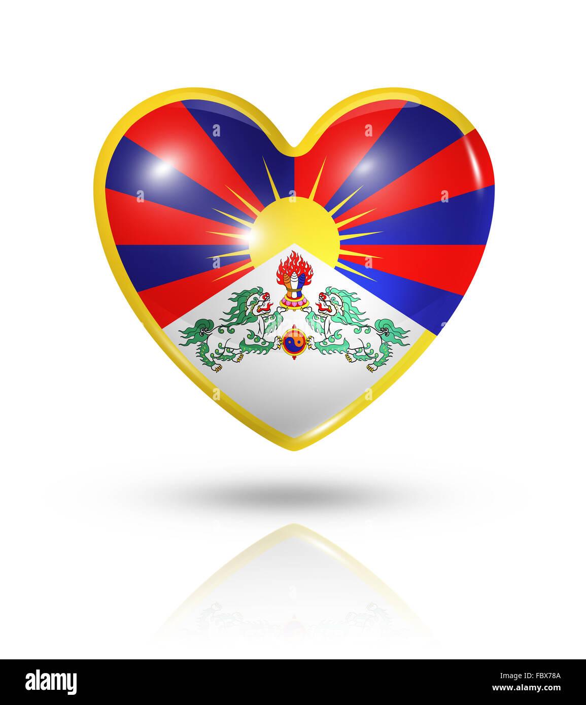 Love Tibet, heart flag icon - Stock Image