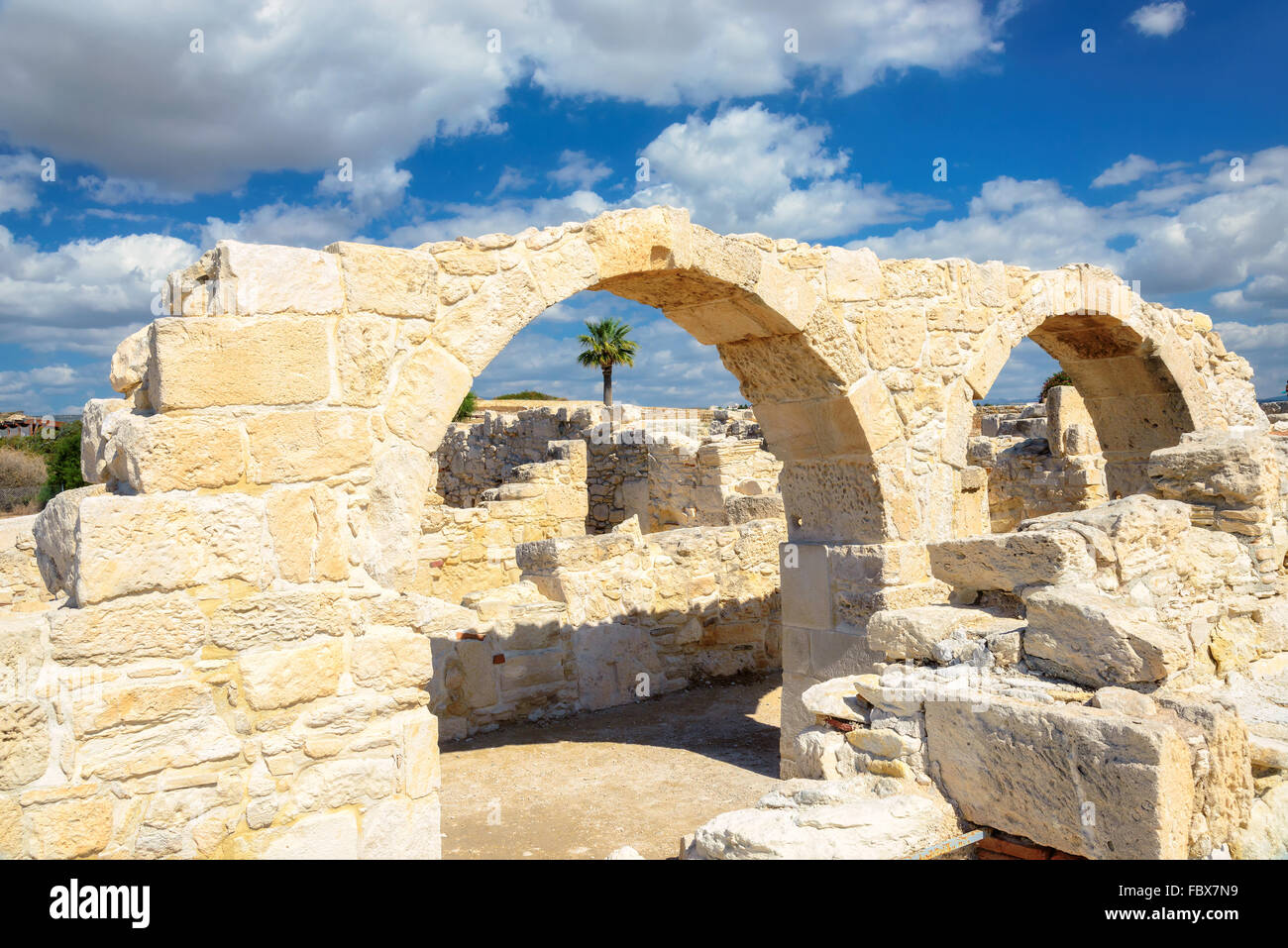 Old greek arches ruin city of Kourion near Limassol, Cyprus - Stock Image