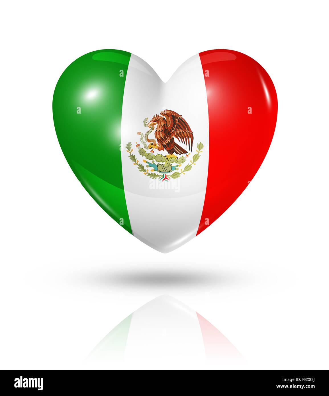 Love Mexico, heart flag icon - Stock Image