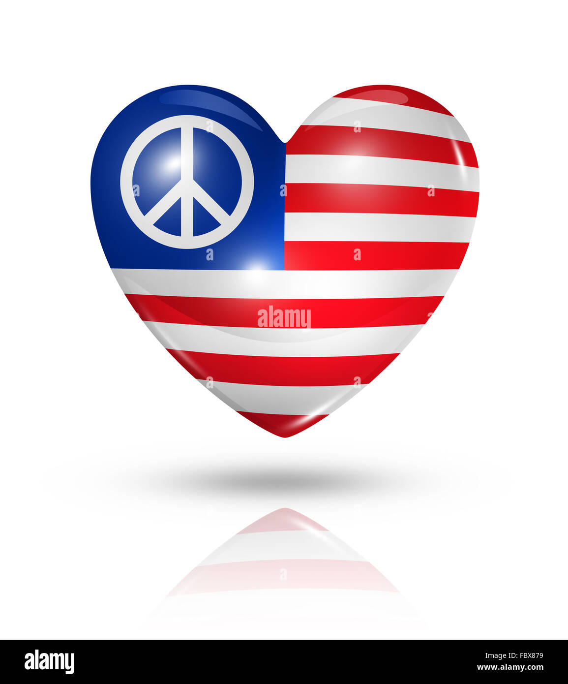 Usa Peace Love Symbol Heart Flag Icon Stock Photo 93390285 Alamy
