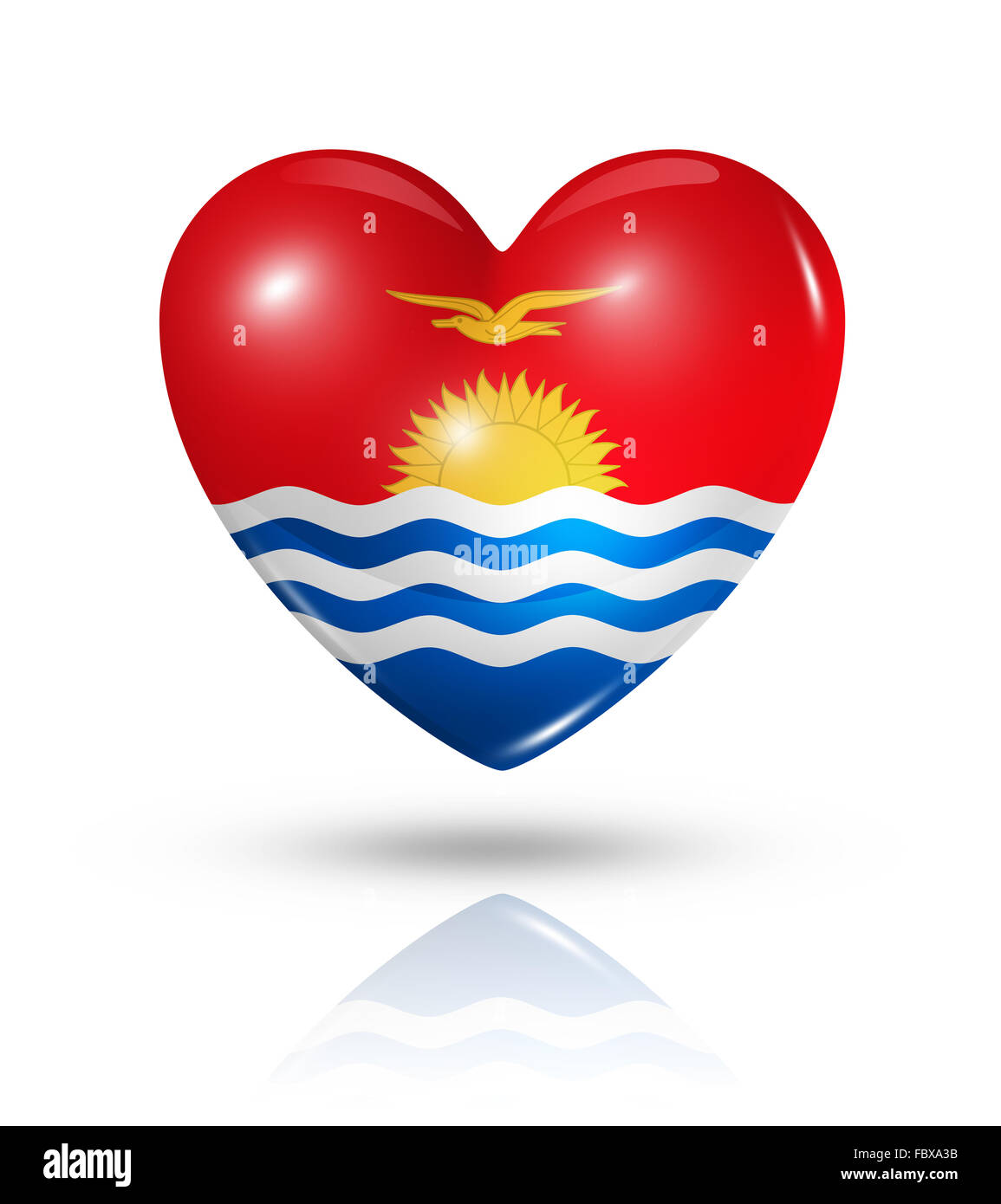 Love Kiribati, heart flag icon - Stock Image