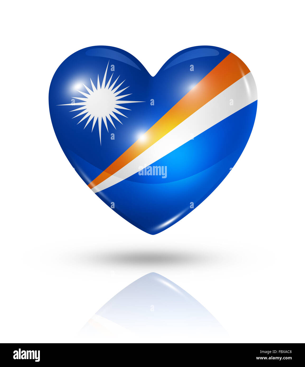 Love Marshall Islands, heart flag icon - Stock Image