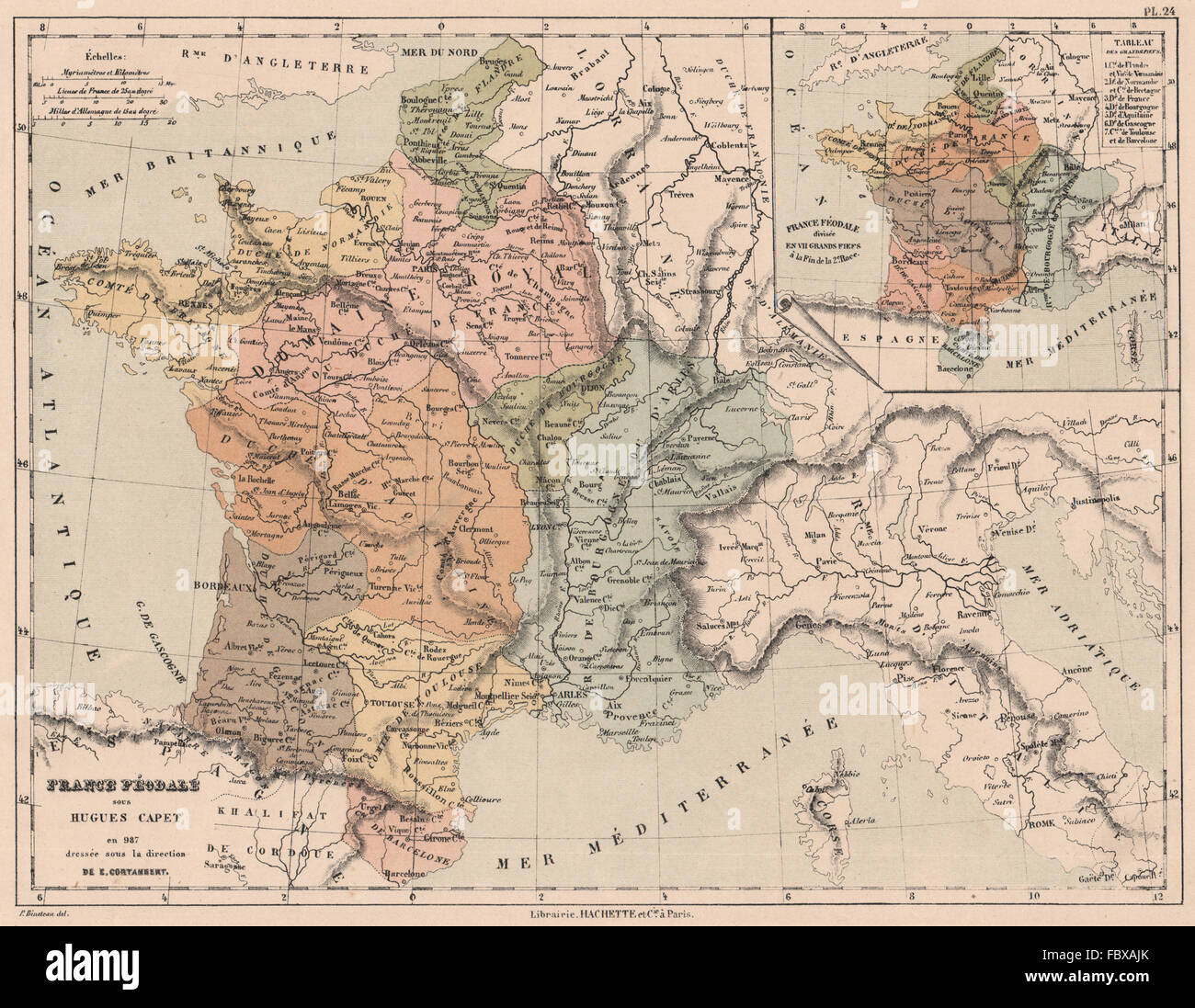 FRANCE IN 987. Feudal France under Hugh Capet. Divided into 7 fiefdoms, 1880 map - Stock Image
