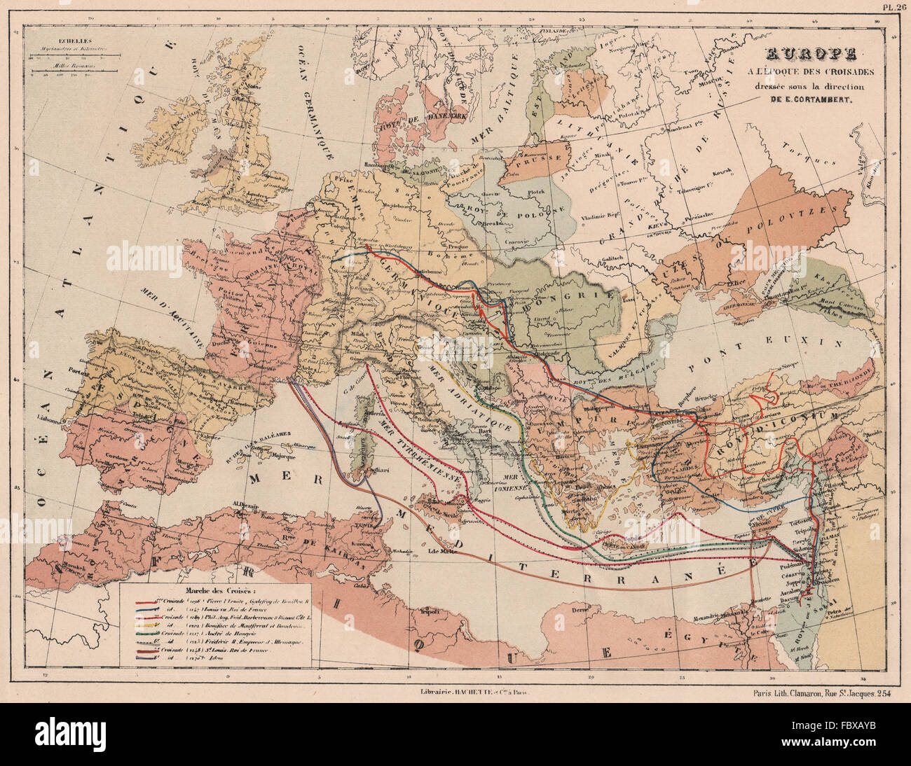 CRUSADES 1096-1270. Showing the 1st-8th Crusades. Europe to Holy Land, 1880 map - Stock Image