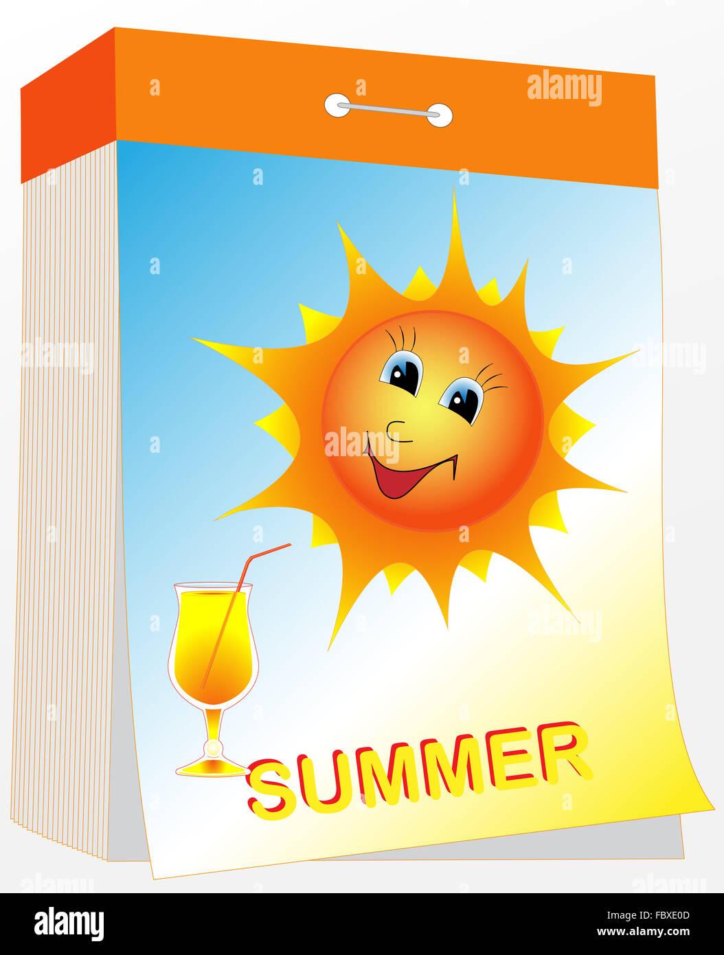 Wall tear-off calendar, summer - Stock Image