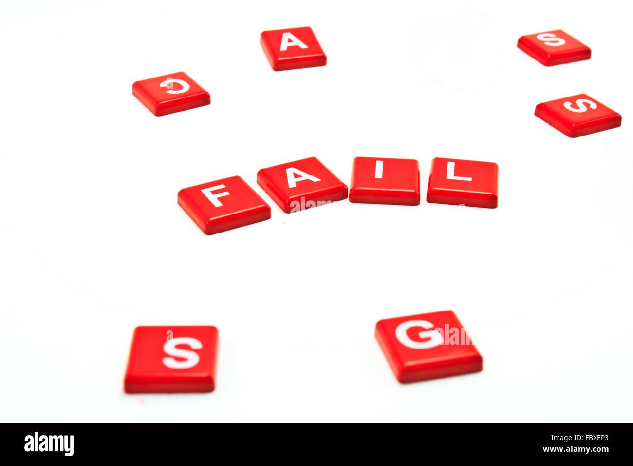 Fail crossword on white background - Stock Image
