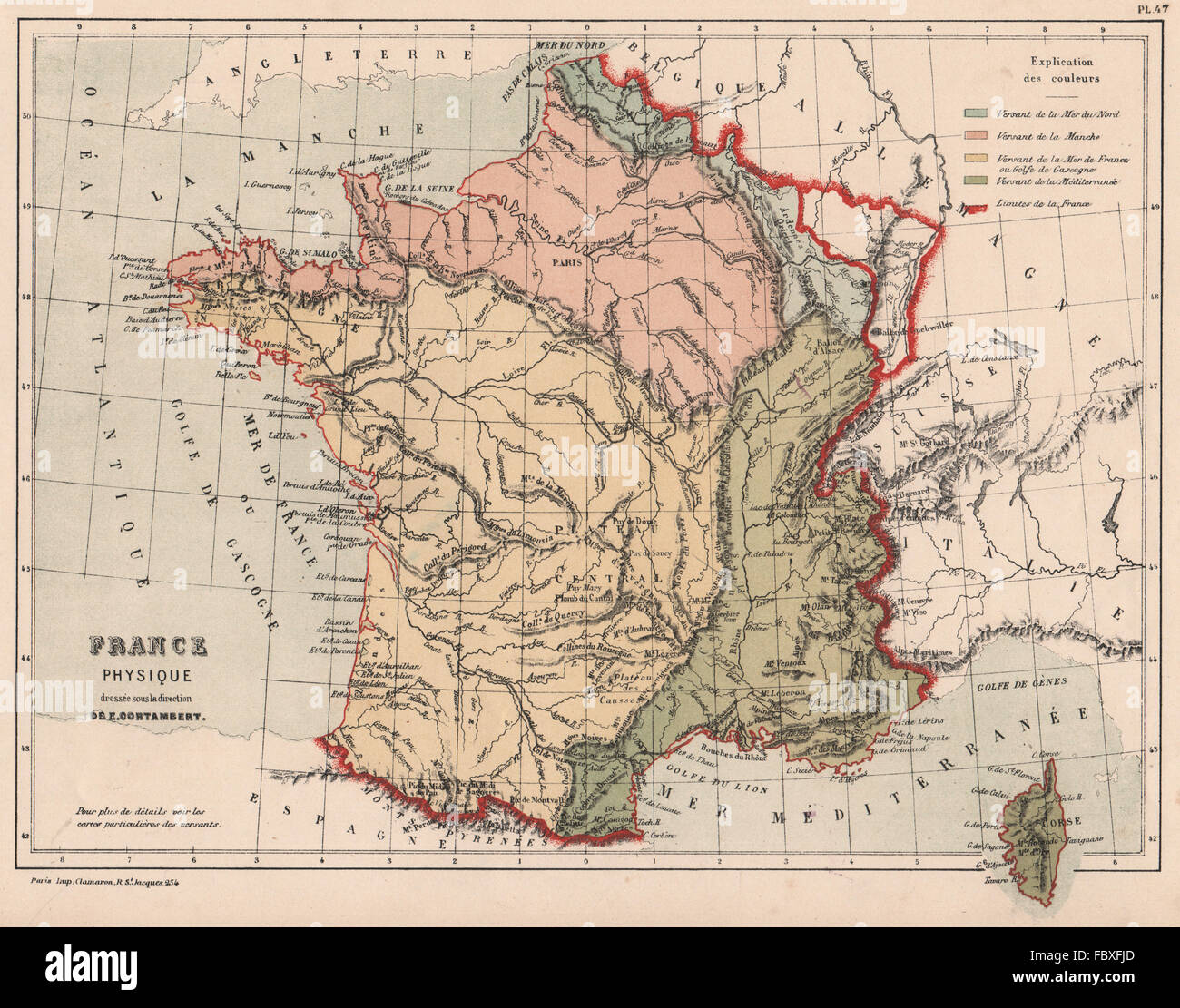 Map Of France In English.English Channel Map France Stock Photos English Channel Map France