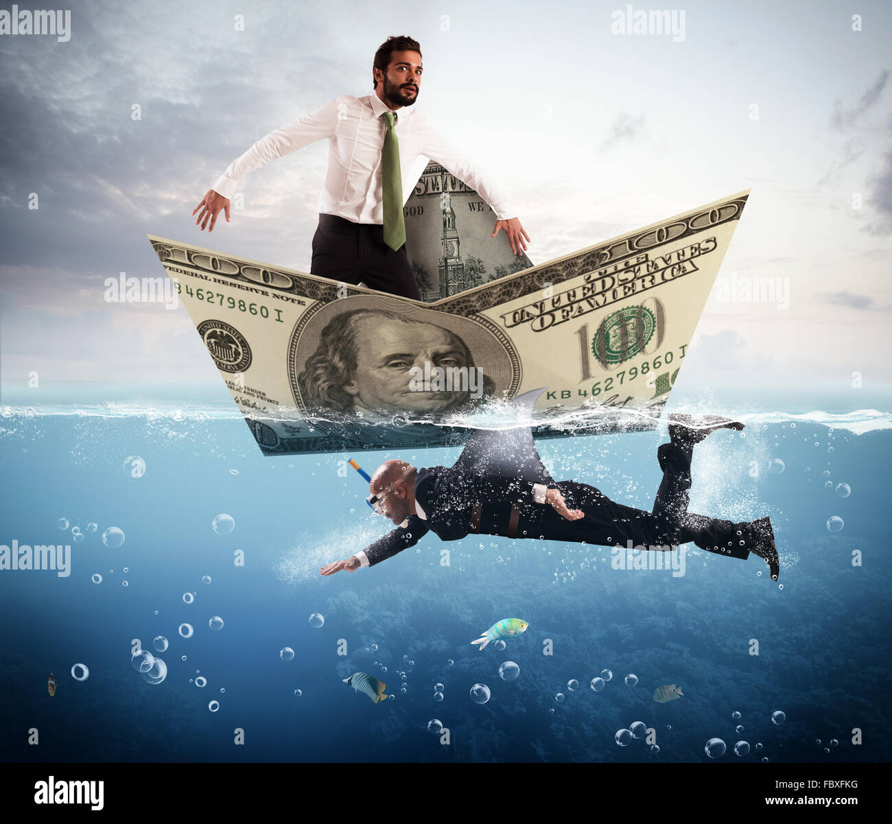 Fear of business sharks - Stock Image