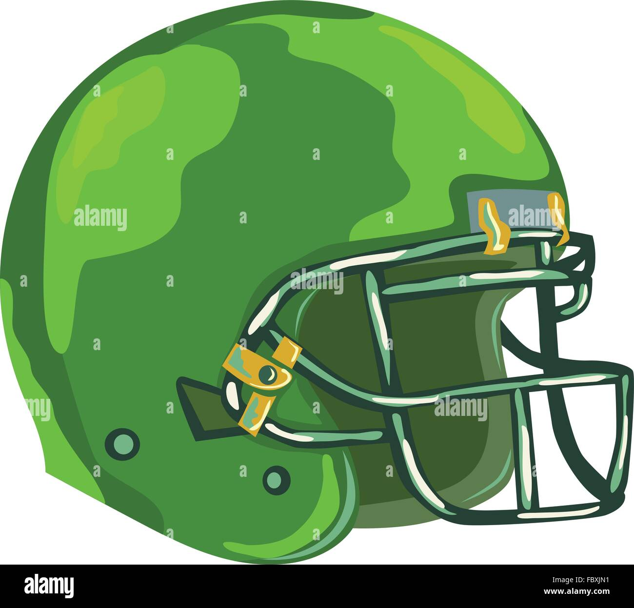 WPA style illustration of an american football green helmet headgear viewed from side set on isolated white background - Stock Vector