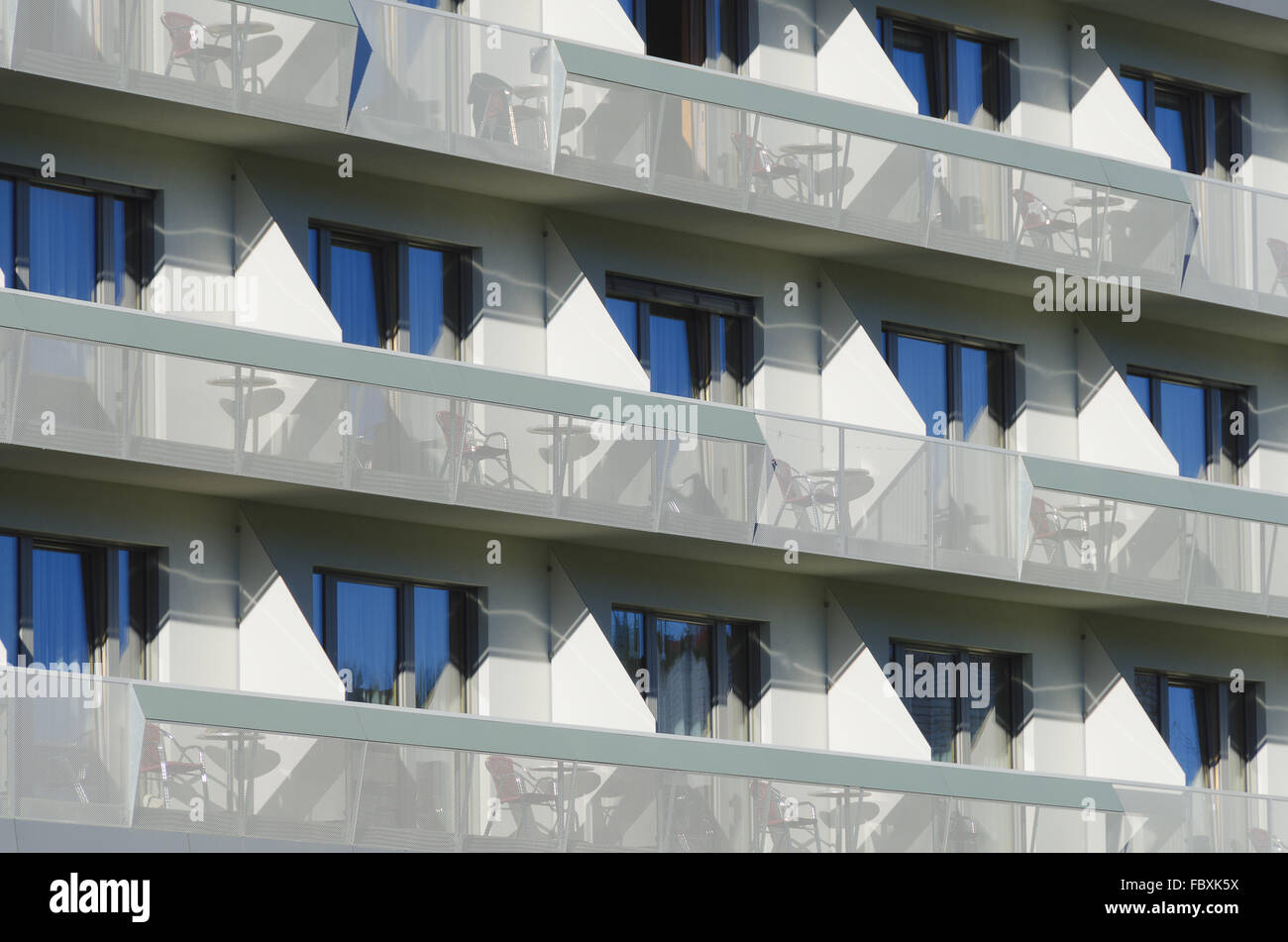 Front Of A Modern Hotel With Balconies Stock Photo 93398870 Alamy
