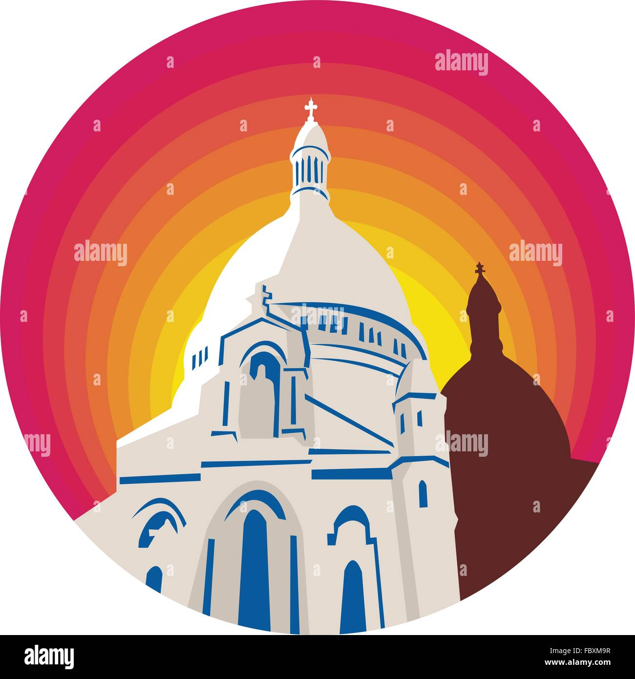 WPA style illustration of a Catholic church dome cathedral set inside circle  done in retro style. - Stock Vector