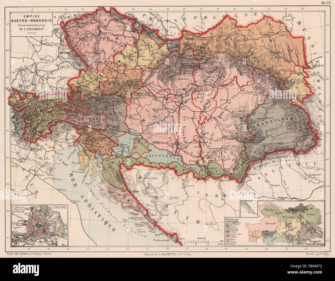 Austro-Hungarian Empire. Inset Vienna. Racial/Ethnographic map. Balkans 1880 - Stock Image